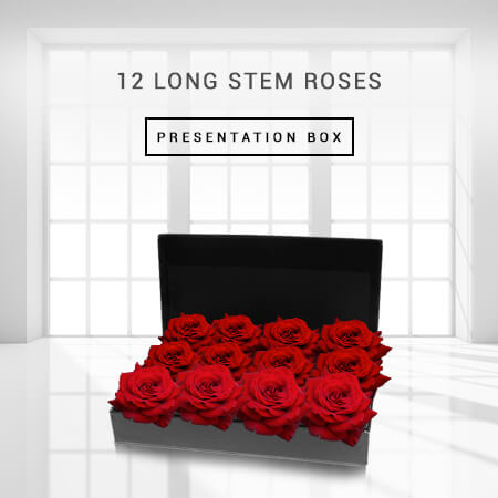 Image of 12 Long Stem Roses Presentation Box